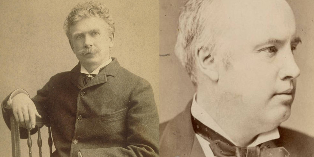Ambrose Bierce (Left) had an intellectual kinship with the orator and freethinker Robert Green Ingersoll (Right). Courtesy of Bancroft Library, University of California, Berkeley and Indiana Memory.