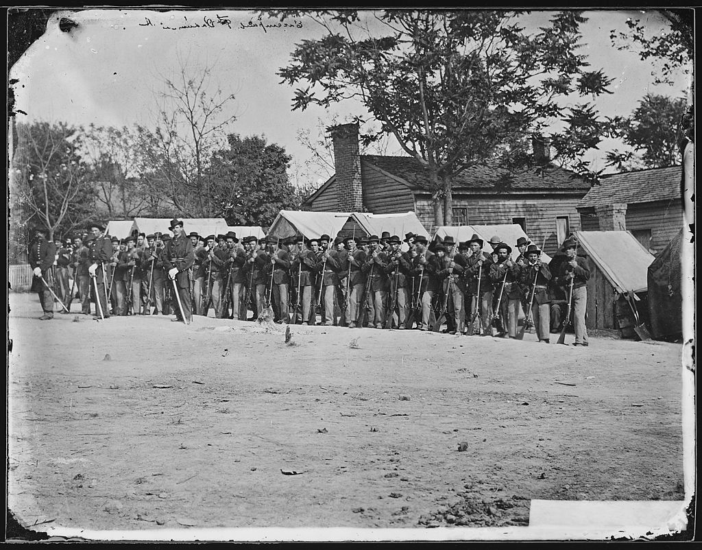 Company A, 9th Indiana Infantry. Photograph by Matthew Brady. Courtesy of U .S. National Records and Archives Administration.
