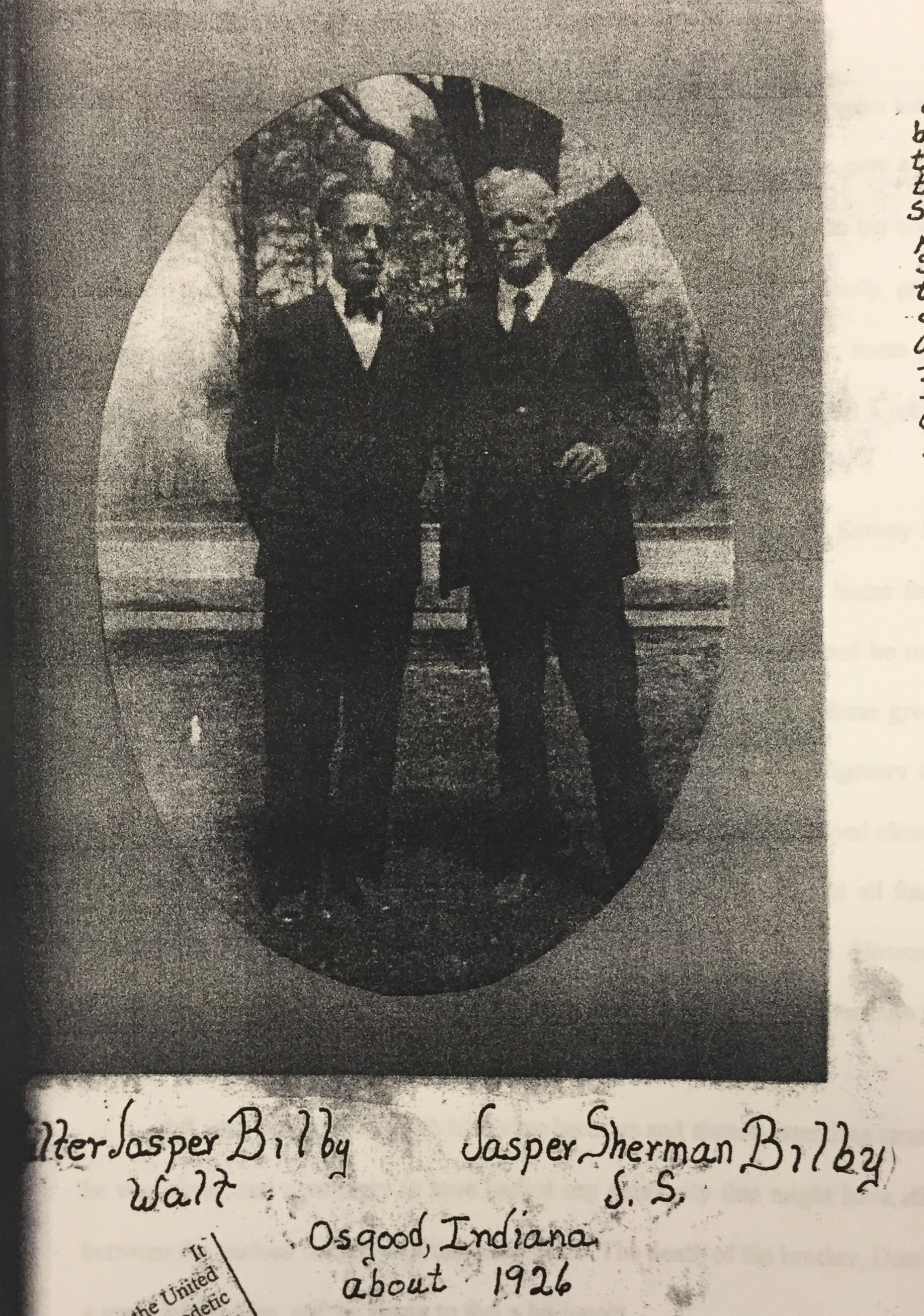 Jasper Sherman (right) with his son and fellow surveyor Walter J. Bilby (left), circa 1926. Courtesy of Surveyor's Historical Society Collection.