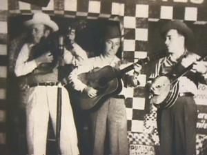 The Blue Grass Boys, 1945, pictured left to right: Bill Monroe, Lester Flatt, and Earl Scruggs, photograph accessed http://www.flatt-and-scruggs.com/monroe.html