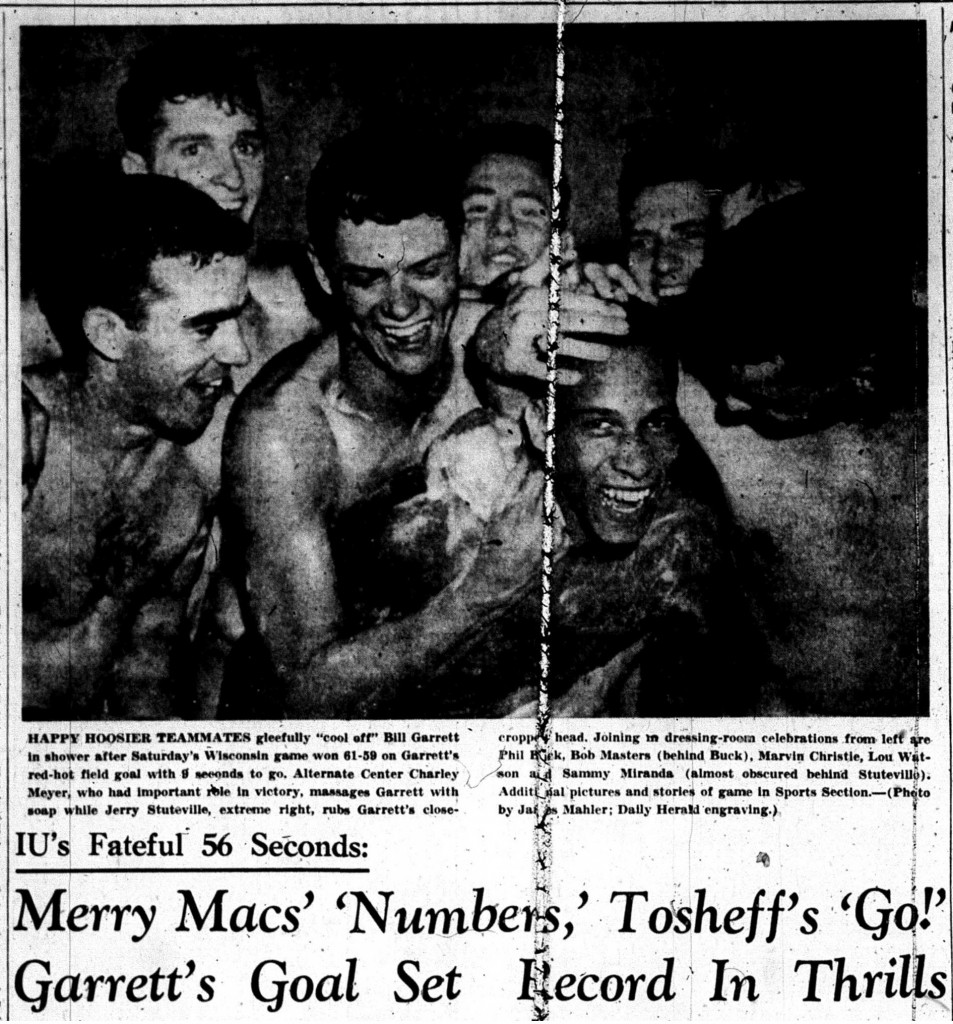 Bill Garrett celebrates with his teammates after scoring IU's game-winning basket against Wisconsin in January 1950. Image credit: Bloomington Daily Herald, January 9, 1950, 1