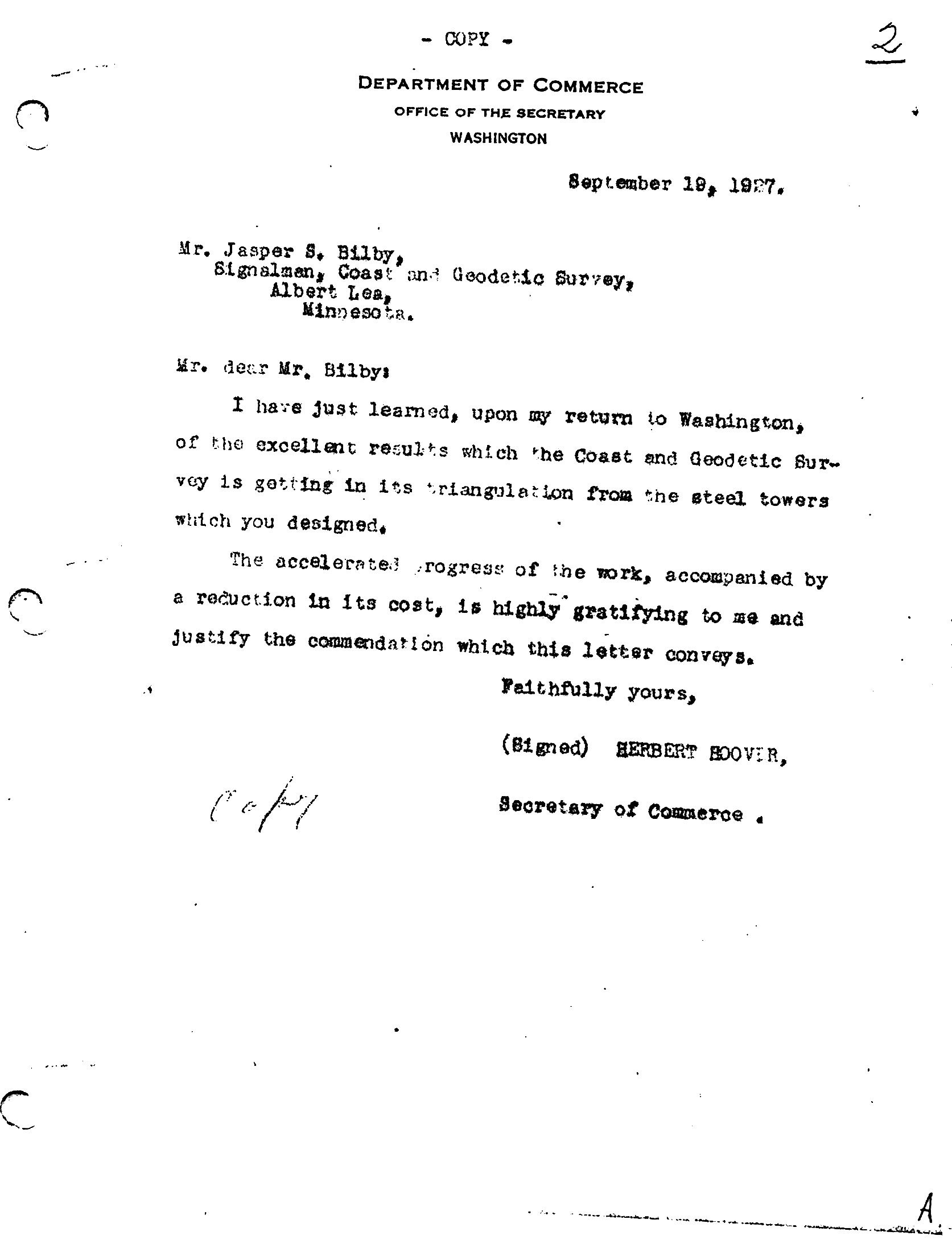 Letter from Secretary of Commerce Herbert Hoover to Jasper Sherman Bilby. Hoover commends Bilby for his invention of the Bilby Steel Tower. Courtesy of Surveyors Historical Society Collection.