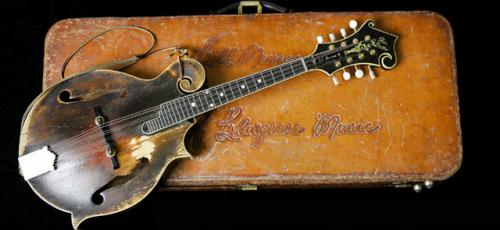 Monroe's 1923 F-5 Lloyd Loar mandolin, Country Music Hall of Fame, photograph accessed http://www.popmatters.com/article/118036-bill-monroes-mandolin-continues-to-make-history/