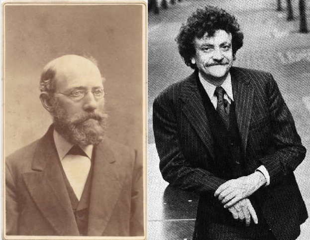 Clemens (Left) was the Vonnegut family patriarch and lifelong freethinker. Kurt, Jr. (Right) was the great-grandson who carried his humanist heritage into his writing. Images courtesy of IUPUI University Library, Special Archives and Collections/citelighter.com.