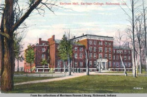 Earlham Hall, postcard, 1916, Morrison-Reeves Library, Digital Collection, accessed Indiana Memory.