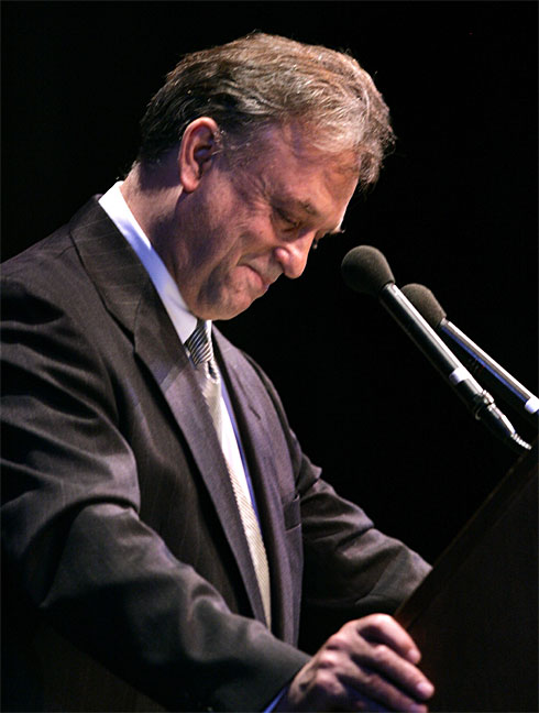 "Kurt's son Mark reading his late father's remarks of Clowes Memorial Hall in April, 2007. This event capped Indianapolis's ""Year of Vonnegut"" ceremonies. The author had died just weeks before he was to deliver this address. Courtesy of USA Today."