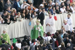 Pope Benedict XVI proceeds to the altar at St. Peter's Square for the canonization of Saint Mother Theodore Guerin in 2006. Digital Image Copyright © 2006 Sisters of Providence. Saint Mary-of-the-Woods