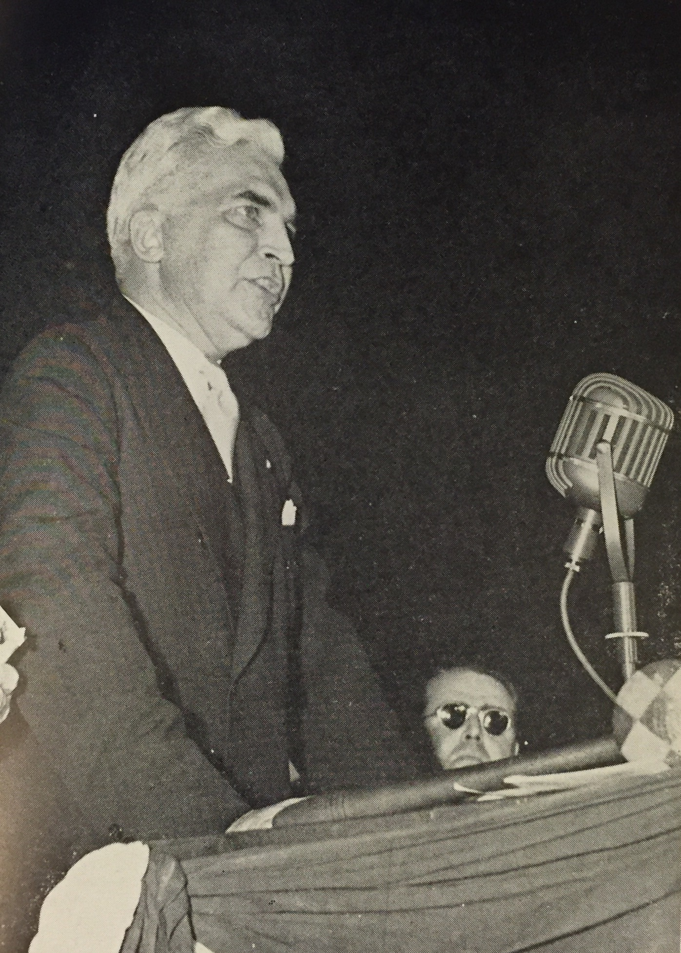 McNutt speaking before delegates of the 1940 Presidential Election. After Roosevelt decided to run for a third term, McNutt withdrew his consideration for the nomination. Image courtesy of Mrs. Roy Garrett Watson/I. George Blake.