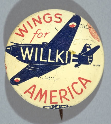 """Wings for Willkie"" campaign button, circa 1940s. Image courtesy of Indiana Historical Society."
