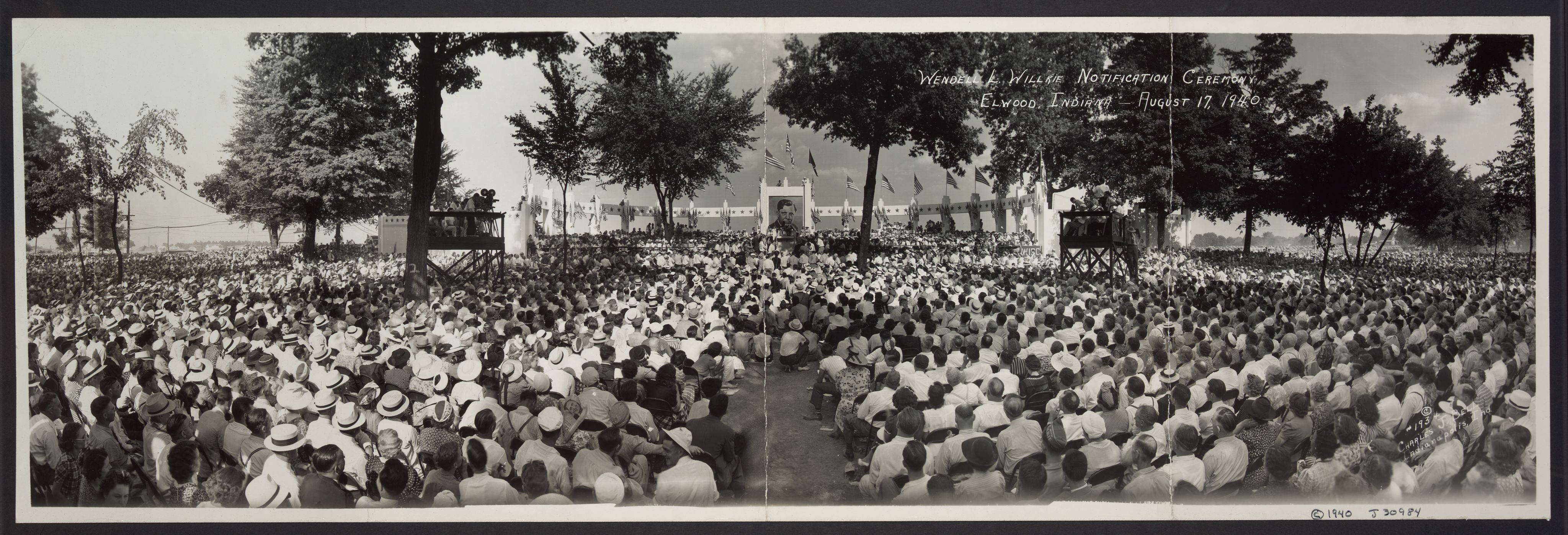 The official notification ceremony of the Republican presidential nomination for Wendell Willkie, Elwood, Indiana, August 17, 1940. Image courtesy of the Library of Congress.