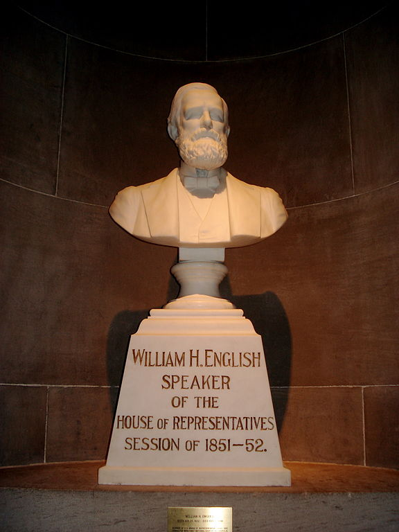 The William English Bust in the Indiana State House. Located on the fourth floor, the bust only lists his time as Indiana House Speaker as an accomplishment. Courtesy in.gov.