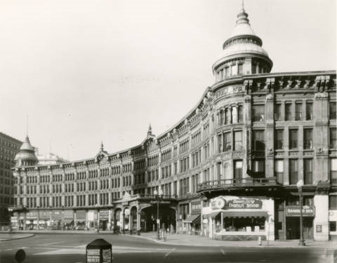 English's Hotel and Opera House, circa 1948. Completed in 1880, it became a mainstay on Monument Circle before its demolition in 1948. Courtesy of Indiana Historical Society.