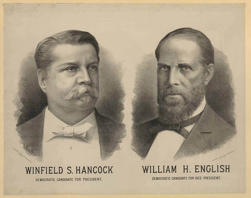 Campaign poster for candidacy of Winfield Scott Hancock and William Hayden English, 1880. Image courtesy of the Library of Congress.