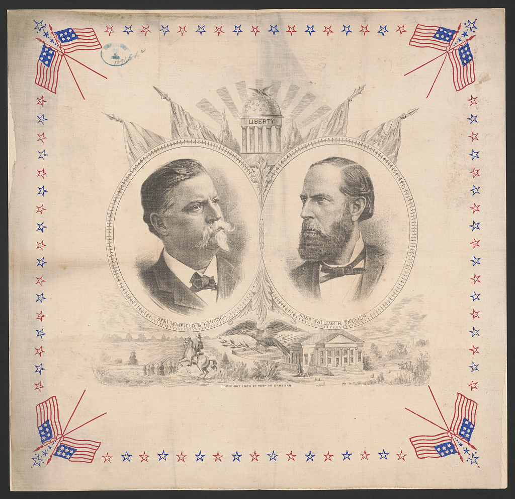 A campaign poster for Hanock and English, with a patriotic flair, 1880. Image courtesy of the Library of Congress.