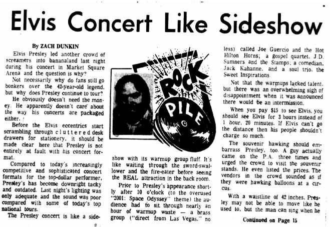 The first page of Zach Dunkin's critical piece on Elvis's last concert. Image courtesy of Indiana State Library.