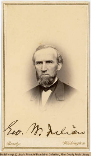 "Brady's National Photographic Portrait Galleries, ""George W. Julian,"" n.d., Lincoln Financial Foundation Collection, Allen County Public Library, accessed http://contentdm.acpl.lib.in.us/cdm/ref/collection/p15155coll1/id/4755"