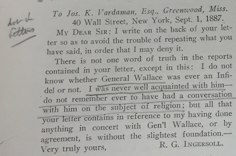 Ingersoll's letter to Joseph Vardaman, as reproduced in an 1922 issue of the Truth Seeker. Courtesy of Southern Illinois University at Carbondale.