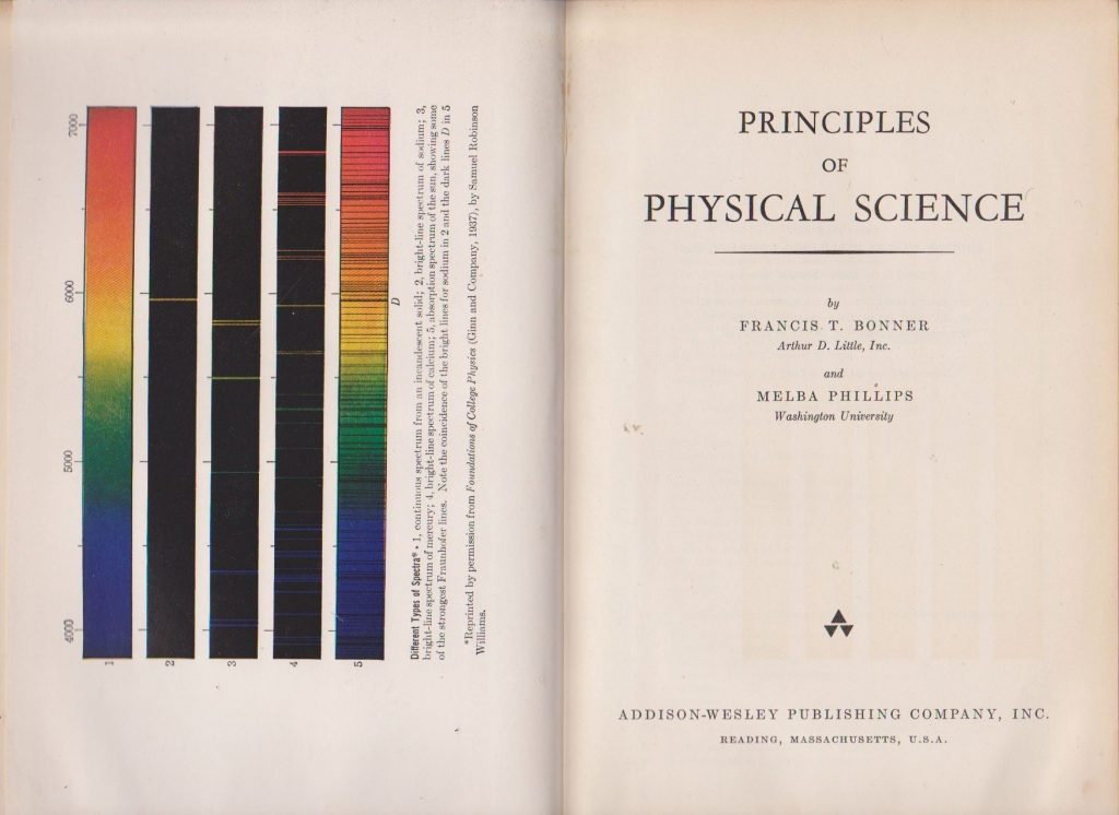Melab Phillips and Francis T. Bonner, Principles of Physical Science (Reading, MA: Addison-Wesley Publishing Company, Inc., 1957)