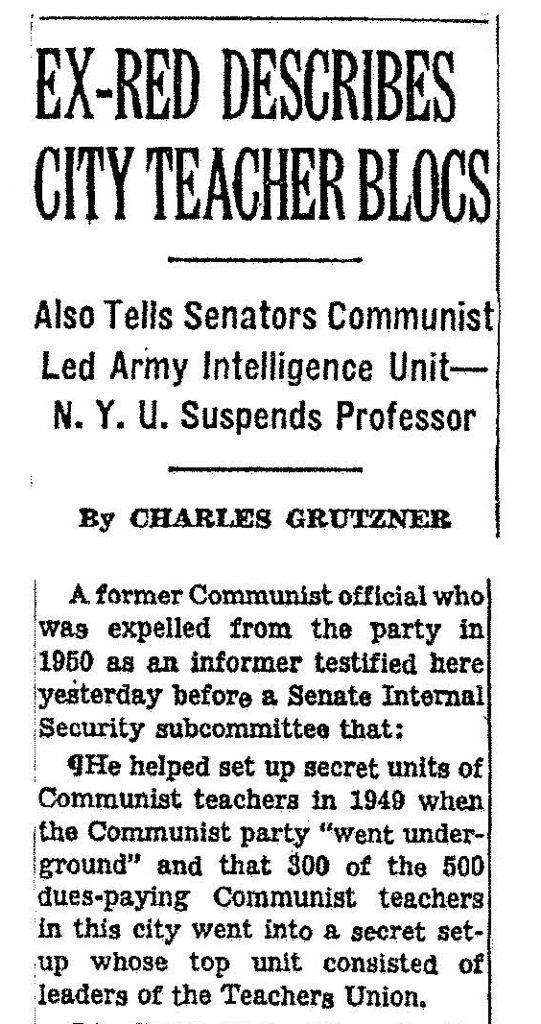 New York Times, October 14, 1952, 1, accessed ProQuest Historical Newspapers.