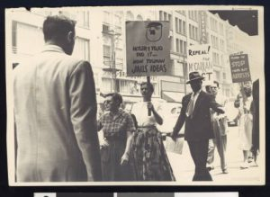 Demonstrators demand repeal of the Smith and McCarran Acts, circa July 19, 1950, Los Angeles, Charlotta Bass / California Eagle Photograph Collection, 1880-1986, Southern California Library for Social Studies and Research, http://digitallibrary.usc.edu/cdm/ref/collection/p15799coll102/id/1320