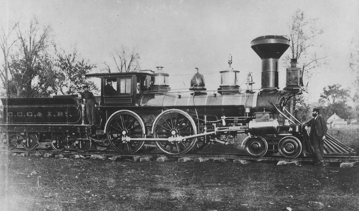 "The Bellefontaine and Indiana's ""Sidney"" Locomotive, built by Niles & Co., 1853 (rebuilt 1856)"
