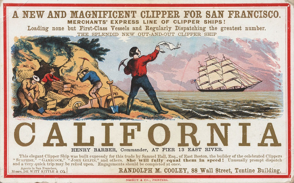 Advertisement, California, Gold Rush, circa 1850