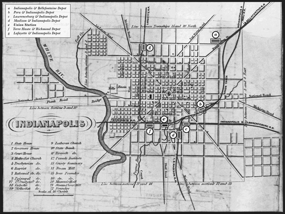 Indianapolis Depots map, 1852