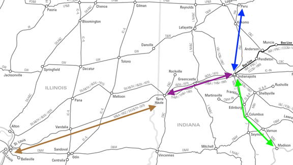 image of The Madison and Indianapolis Railroad [M&I] and involved roads: the Peru and Indianapolis Railroad [P&I], extending north from Indianapolis, and the Mississippi and Atlantic Railroad [M&A], extending west to St. Louis. Terre Haute and Richmond [TH&R]
