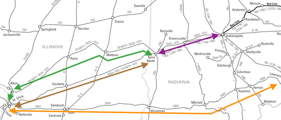 Railroads west from Indiana, including the Terre Haute and Richmond [TH&R], Ohio and Mississippi [O&M], Mississippi and Atlantic [M&A], and St. Louis, Alton and Terre Haute [StLA&TH]