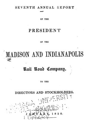 Madison and Indianapolis Rail Road 1850 Annual Report Cover