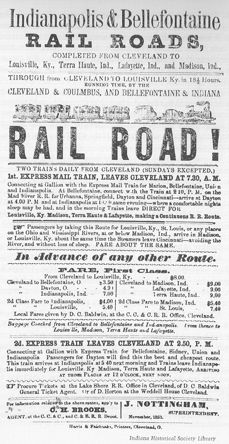 Indianapolis and Bellefontaine Railroad 1853 advertisement-schedule