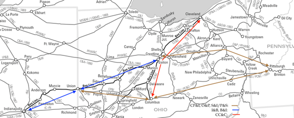 Map of midwestern railroads c1860, annotated to show Bee Line component railroads and intersecting rail lines to Pittsburgh