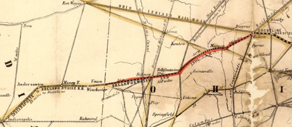Bee Line railroads map, excerpt from Bellefontaine and Indiana 1852 Railroad Map