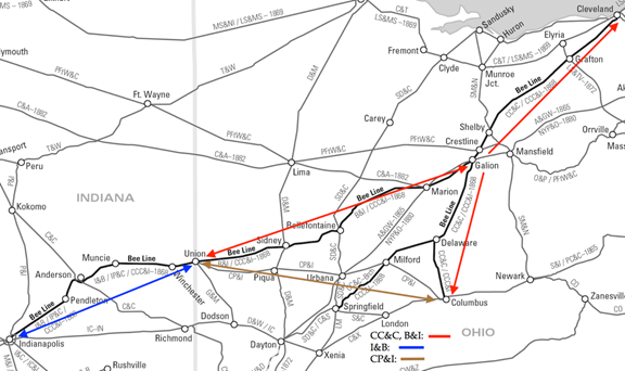 Map of railroads between Indianapolis and Cleveland c1860, annotated to show component Bee Line railroads, and the Columbus, Piqua and Indiana railroad