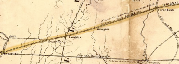 Map of the proposed Mississippi and Atlantic Railroad route from excerpt of Map of the Bellefontaine and Indiana Railroad 1852