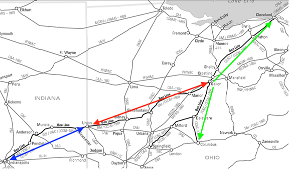 Map of Bee Line Railroad Component Lines: the Indianapolis, Pittsburgh and Cleveland, the Bellefontaine and Indiana, and Cleveland, Columbus and Cincinnati