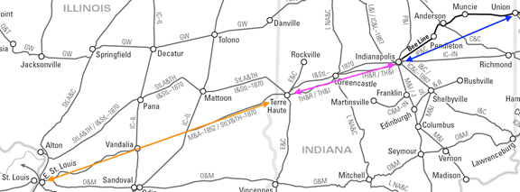 Map of the proposed route of the Mississippi and Atlantic Railroad, the Terre Haute and Richmond Railroad, and the Indianapolis, Pittsburgh and Cleveland Railroad