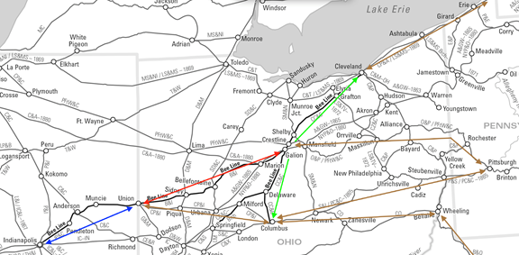 Map of the Bee Line Railroad component lines, and Columbus, Piqua and Indiana and other roads aligned with the B&O (to Wheeling WV), Pennsylvania (to Pittsburgh PA) and New York Central (to Buffalo NY) trunk lines.