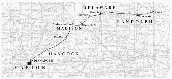 Map of the Indianapolis, Pittsburgh and Cleveland Railroad (formerly the Indianapolis and Bellefontaine Railroad), ca. 1855