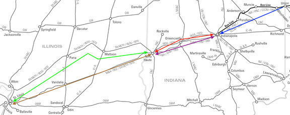 Annotated Map of the routes of the St. Louis, Alton and Terre Haute; St. Louis, Vandalia and Terre Haute; Indianapolis and St. Louis; Terre Haute and Indianapolis; Indianapolis, Pittsburgh and Cleveland railroads