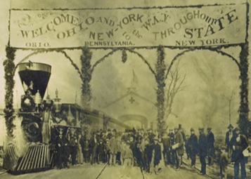 The first Atlantic and Great Western train arrives in Kent, Ohio, 1863