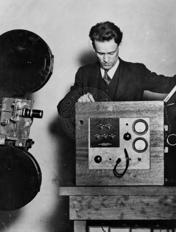 Philo T. Farnsworth with early television camera, 1930s