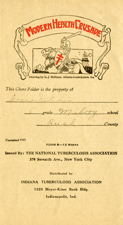 Modern Health Crusade pamphlet. In the mid-1920s, the Delaware County Tuberculosis Association won the state award for the highest percentage of student participants in the program