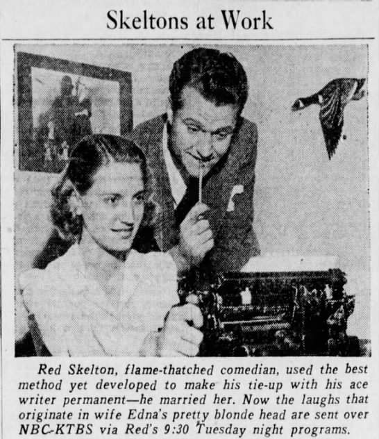 Edna Stillwell working with comedian husband Red Skelton