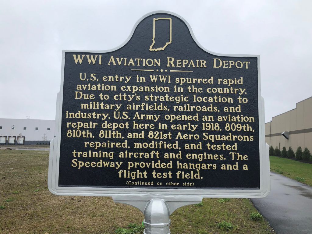 b744fd1af State historical marker commemorating Speedway's WWI Aviation Repair Depot.  April 24, 2018. Photo courtesy of the Indiana Historical Bureau.