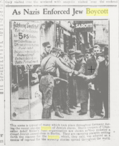 History Unfolded Project Part 2: Jewish Businesses Boycotted / Jews Removed from Government